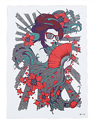 1pc Beauty Women Men Flower Body Arm Art Sun Glass Geisha Girl Fan Tatoo Temporary Tattoo Sticker HB-118