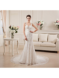 Trumpet / Mermaid Wedding Dress Chapel Train Straps Lace with Beading / Lace