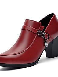 Черный / Красный-Женский-Свадьба / Для офиса / Для праздника-Дерматин-На толстом каблуке-На каблуках-Обувь на каблуках