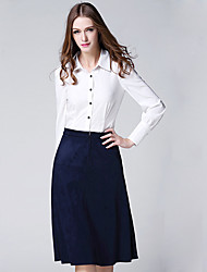 BURDULLY Women's Shirt Collar Long Sleeve Midi Skirt suit -6169