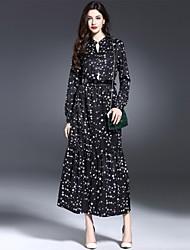 De las mujeres Corte Swing Vestido Noche Sofisticado,Estampado Escote Chino Maxi Manga Larga Negro Algodón Verano
