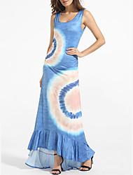 Women's Beach Sexy / Simple Sheath Dress,Geometric U Neck Maxi Sleeveless Blue Polyester All Seasons