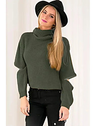 Women's Casual/Daily Street chic Long Pullover,Solid Green Turtleneck Long Sleeve Polyester Winter Thin