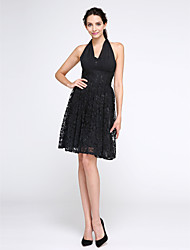 TS Couture Cocktail Party Prom Dress - Little Black Dress A-line Halter Knee-length Chiffon Lace with Lace