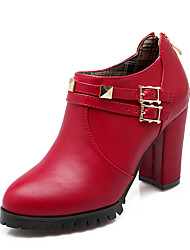 Women's Boots Winter Heels / Fashion Boots Leatherette Dress Chunky Heel Buckle / Zipper Black / Red Others