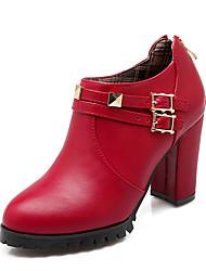 Damen-Stiefel-Kleid-Kunstleder-Blockabsatz-Modische Stiefel-Schwarz Rot