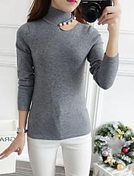 Normal Pullover Femme Décontracté / Quotidien simple,Couleur Pleine Blanc / Noir / Gris Col Roulé Manches Longues RayonnePrintemps /