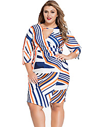 Women's Multi Stripe Keyhole Wrap Plus Size Dress