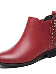 Women's Boots Fall Bootie Leatherette Wedding / Office & Career / Dress Low Heel Others Black / Burgundy Others