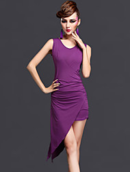 Latin Dance Dresses Women's Performance  Chinlon Draped 2 Pieces Black / Dark Purple / Fuchsia / Royal Blue Sleeveless