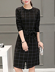 Women's Work Simple Shift Dress,Check Round Neck Knee-length Long Sleeve Black Cotton Fall