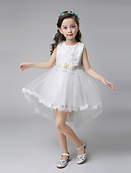 Ball Gown Asymmetrical Flower Girl Dress - Cotton / Satin / Tulle Sleeveless Jewel with Appliques / Flower(s)