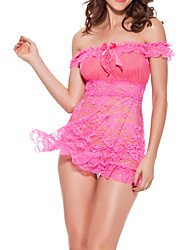 Women Chemises & Gowns Lace Lingerie Nightwear,Lace Jacquard-Medium Lace Fuchsia Purple Red Black