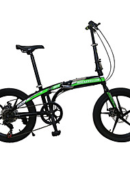 Vélo pliant Cyclisme 7 Vitesse 20 pouces Unisexe Frein à Double Disque Fourche à Suspension Mono poutre Ordinaire AcierOrange / Blanc /