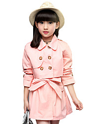 Girl's Cotton Spring/Summer/Autumn Fashion Solid Color Casual Sleeveless Skirt And Short Trench Coat Two-piece Set