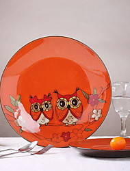 The Owl Features Hand-Painted Ceramic Plate