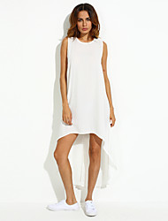 Ample Robe Aux femmes Décontracté / Quotidien Grandes Tailles / Sexy,Couleur Pleine Col Arrondi Maxi Sans Manches Blanc Eté