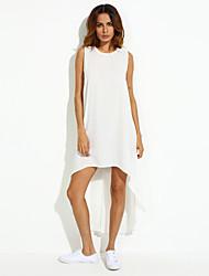 Women's Sexy Casual Plus Sizes Inelastic Sleeveless Maxi Dress (Chiffon)