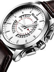 Man's Fashion Quartz Wrist Watch Simple Calender Genuine Leather Belt Big Round Alloy Dial Watch Cool Watch Unique Watch