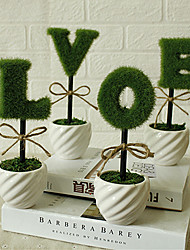 4PCS/Set Home Decoration New Ceramic Vase LOVE Artificial Plants Potted Simulation Flowers Decorated Flocking Flower
