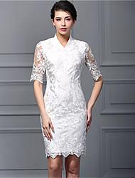 Baoyan® Mujer Escote Chino Manga 3/4 Sobre la Rodilla Vestidos-160111