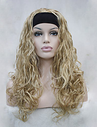 New Fashion 3/4 wig With Headband Golden Blonde Wavy Long Synthetic Women's Half Wig