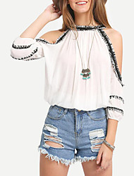 Women's Casual/Daily Street chic Spring / Fall Blouse,Solid Off Shoulder ¾ Sleeve White Cotton Medium