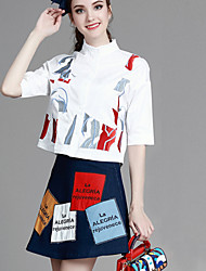 MUCO  Casual/Daily Simple Summer Set,Print / Letter Asymmetrical ½ Length Sleeve Blue Polyester Thin