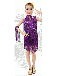 Latin Dance Dresses Children's Performance Milk Fiber Sequins / Tassel(s) 1 Piece