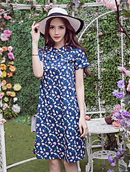 Women's Casual/Daily Simple A Line Dress,Floral Shirt Collar Above Knee Short Sleeve Blue Polyester Summer