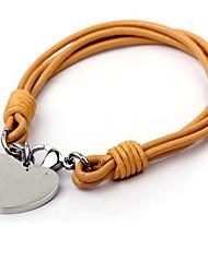 Pulseiras Bracelete Pulseiras Algema Pele Aço Titânio Formato de Coração Coração Durável Moda VintageCasamento Festa Diário Casual
