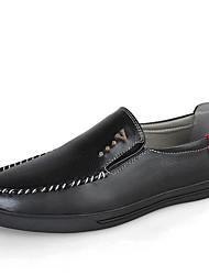 Masculino-Sapatos de Barco-Rasos-Rasteiro-Preto / Azul-Couro-Casual