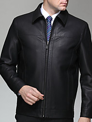 Men's Long Sleeve Casual / Work Jacket,Rayon Solid Black