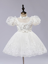 A-line Knee-length Flower Girl Dress - Satin / Tulle / Sequined Short Sleeve High Neck with Embroidery / Ruffles