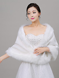 Women's Wrap Shawls Sleeveless Faux Fur Ivory Wedding / Party/Evening Off-the-shoulder 40cm Wave-like Open Front