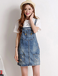 Women's Casual/Daily / Plus Size Simple Denim Dress,Solid Strap Above Knee Sleeveless Blue Cotton Summer