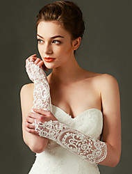 Top Quality Wrist Length Fingerless Glove Lace Bridal Gloves