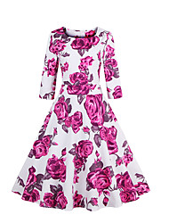Big Yard Ladies Going out Vintage Sheath / Swing Dress,Floral Round Neck Knee-length ¾ Sleeve Blue / Pink Cotton All