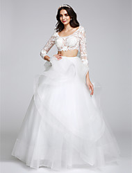LAN TING BRIDE A-line Wedding Dress Two-in-One Floor-length Scoop Tulle with Appliques