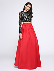 TS Couture Prom Formal Evening Dress - Two Pieces A-line Jewel Floor-length Lace Taffeta with Lace