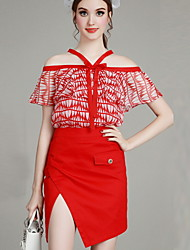 MIUCO  Casual/Daily Simple Summer Set,Print Off Shoulder Short Sleeve Red Polyester Thin