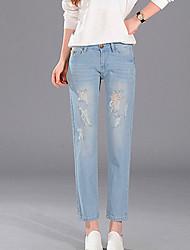 Mulheres Calças Simples Jeans Algodão Sem Elasticidade Mulheres