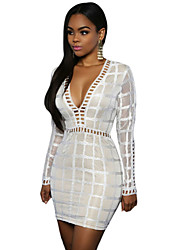 Women's Club Sexy Bodycon Dress,Patchwork Deep V Mini Long Sleeve White / Black Polyester / Spandex Summer