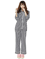 Striped silk shirt, pajamas, Casual Shirts,