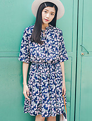 Women's Casual/Daily Simple A Line Dress,Print Asymmetrical Knee-length ½ Length Sleeve Blue Polyester Summer