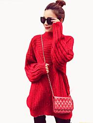 Long Pullover Femme Décontracté / Quotidien simple,Couleur Pleine Rouge / Gris / Jaune Col Roulé Manches Longues Polyester Automne Moyen