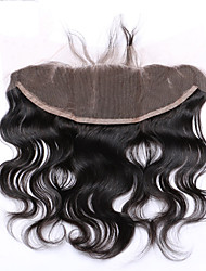 8-20inch # 1B Изготовлено вручную Естественные кудри Человеческие волосы закрытие Умеренно-коричневый Швейцарское кружево 0.2g грамм