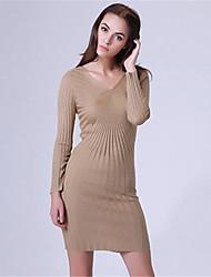 Mara Carol® Women's V Neck Long Sleeve Sweater & Cardigan Black / Camel / Fuchsia / Dark Gray-6519513