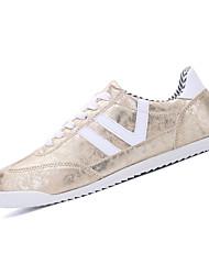 Herren-Sneaker-Lässig-PU-Flacher Absatz-Komfort-Schwarz / Silber / Gold