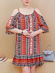 Maternidade Solto Vestido,Happy-Hour / Casual Vintage Estampado Com Alças Acima do Joelho Meia Manga Vermelho Algodão Verão